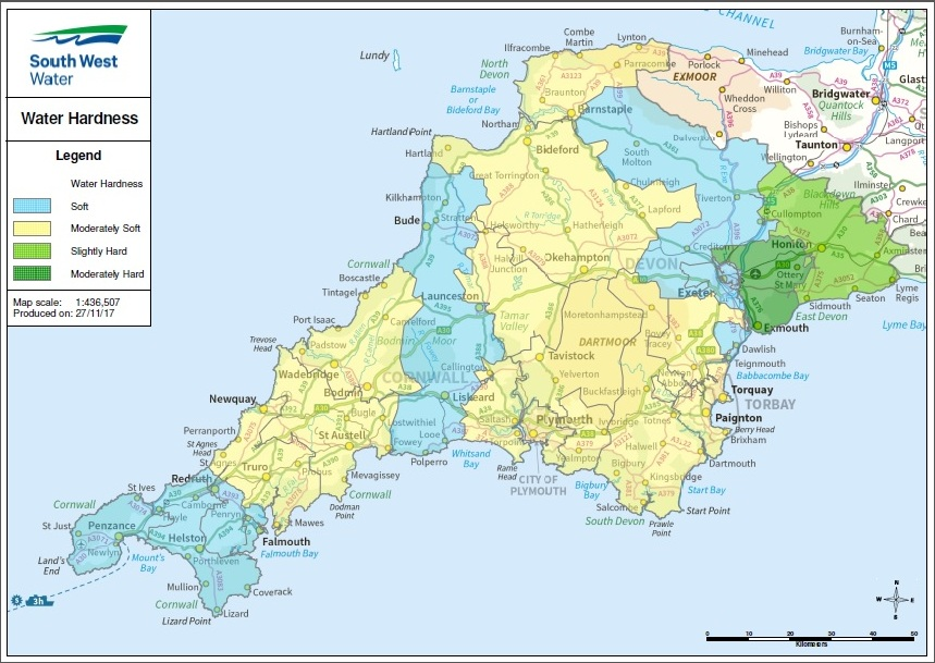 Map Of Uk Exeter.Water Hardness